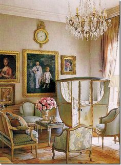Setees and Bergere Chairs with a sedan chair in the corner...dripping in French decadence - Cote de Texas