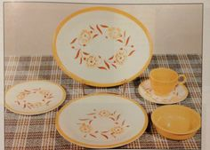 Yellow Carnation Fiesta Ware. Available from 1962-68 from the Plaid Stamp Company