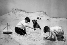 Two boys with an Airedale playing and making sand piles. c. 1930's