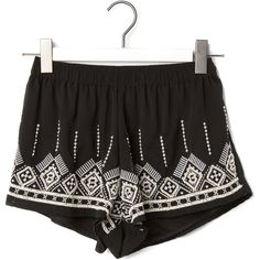 Pull & Bear Ecru Shorts With Embroidery Detail ($42) ❤ liked on Polyvore