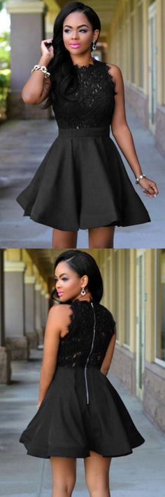 chic short prom party gowns, fashion lace homecoming dresses, cheap scoop party gowns, semi formal dresses.