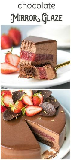 How to make chocolate mirror glaze. Foolproof chocolate mirror glaze recipe, used to top a chocolate mousse cake with strawberry jelly layer. Frosting Recipes, Cupcake Recipes, Baking Recipes, Cupcake Cakes, Cupcakes, Icing Frosting, Layer Cake Recipes, Cake Icing, Cupcake Ideas