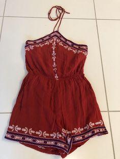 0d9dbdca6efe TOPSHOP women Boho Red romper size 4  fashion  clothing  shoes  accessories