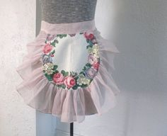 Vintage Pink Organza Apron Flowers by GallivantsVintage on Etsy, $26.15