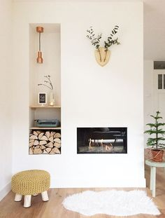 scandinavian inspired fireplace and decor Cozy Fireplace, Fireplace Design, My Living Room, Living Spaces, European Home Decor, House Rooms, Interior Design Inspiration, Interior And Exterior, Home Goods