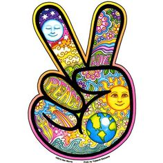 hand holding the Peace sign is decorated with beautiful celestial imagery and words in pastel earth tones. This sticker features artwork by Dan Morris.
