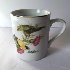 Goldfinch Coffee Mug Cup Bird Verse John James Audubon Birding Porcelain Vintage #JohnJamesAudubonPorcelain