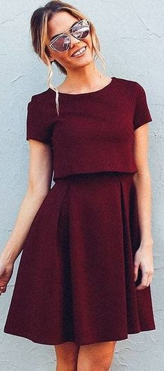 #fall #work #outfits | Burgundy 'Well Played' Dress