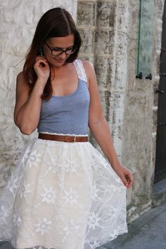 Upgrade a pencil skirt by adding a lace overlay.