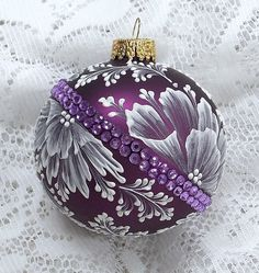 Red Violet Hand Painted 3D Floral MUD Ornament by MargotTheMUDLady, $35.00
