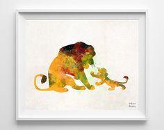 El Rey León imprimir Disney Poster Mufasa Simba el por InkistPrints
