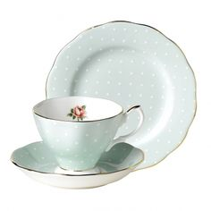 e3002cfaec6 100 Years of Royal Albert 1930 Polka Rose Set. The 1930 Polka Rose Set  features a Dessert Plate, Teacup and Tea Saucer all decorated with the  subtle ...