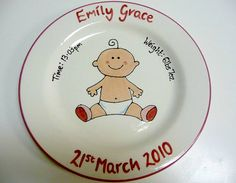 Hand Painted Personalised New Baby Girl Boy Ceramic Keepsake Plate Birth Details Christening Baptism Naming Day Gift Present
