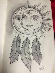 Dotwork Dreamcatcher - Stunning Sun and Moon Tattoo Ideas - Photos