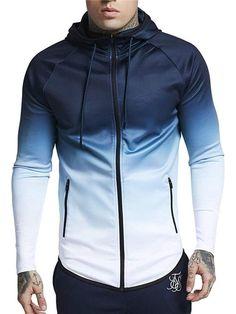 Men's Fashion Gradient Pattern Drawstring Hooded Zipper Up Sweatshirt Casual Mode, Men Casual, Style Casual, Hoodie Sweatshirts, Hoody, Men's Hoodies, Sport Fashion, Mens Fashion, Cheap Fashion
