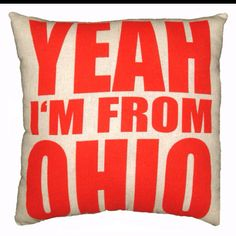 Red on Raw Linen 'Yeah I'm From Ohio' Throw Pillow - 14'' x 14'' $25.50 http://etsy.me/HK2AD1