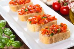 How to make Noor's perfect Bruschetta . Easy and simple Noor's perfect Bruschetta Recipe. Bruschetta is an appetizer that features fresh tomatoes, seasoned with garlic and basil. Yummy Appetizers, Appetizer Recipes, My Favorite Food, Favorite Recipes, Bruschetta Recipe, Food Club, Food Words, Your Recipe, I Foods