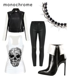 """#MyWayMonochrome"" by jaimie-lynn-1 ❤ liked on Polyvore featuring Helmut Lang, Yves Saint Laurent, Joomi Lim and monochrome"