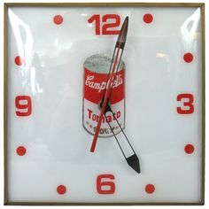 1960's Advertising Campbell Soup Clock | From a unique collection of antique and modern wall clocks at http://www.1stdibs.com/furniture/wall-decorations/wall-clocks/