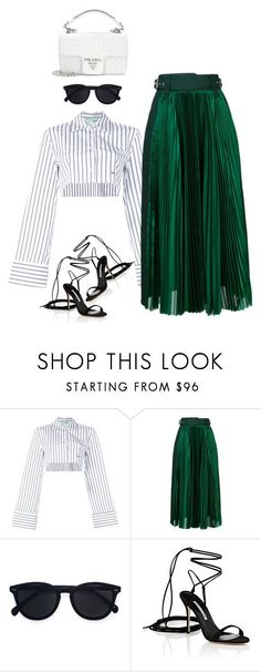 """Untitled #4718"" by thefashionchamp ❤ liked on Polyvore featuring Off-White, Sacai, Le Specs, Manolo Blahnik and Prada"