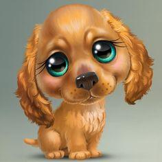 Caricatures of puppies