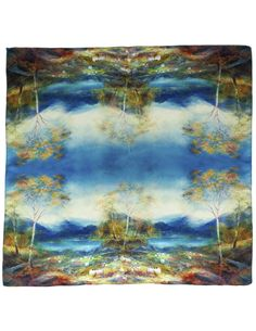 Dahlia Women's 100% Square Silk Scarf - Countryside Scenery Neckerchief - Blue