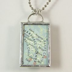 Marshall Islands Vintage Map Pendant Necklace by XOHandworks $20