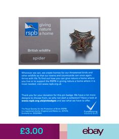 Collectable Badges Rspb Pin Badge | Spider | Gnah Backing Card [00447] #ebay #Collectibles British Wildlife, Pin Badges, How To Find Out, Jewellery, Create, Cards, Jewels, Jewelry Shop, Jewerly