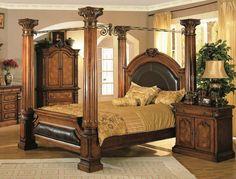 Wooden Canopy Bed, Canopy Bed Frame, King Size Bed Frame, Wooden Bed Frames, Canopy Beds, Classic Bedroom Furniture, Bedroom Furniture Design, White Furniture, Kitchen Furniture