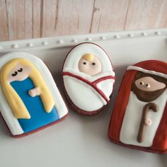 Lindsey Lou Cakes: custom sugar cookies: holy couple cookies: Mary, Joseph and Baby Jesus in simple shapes