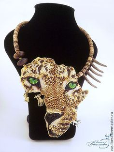 Купить Колье Африка. Леопард. - комбинированный, леопард, африка, дикая африка, дизайнерские украшения
