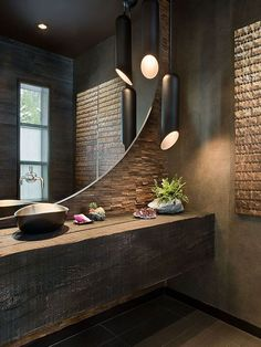 modern bathroom design with light_modern bathroom design in industrial style with a round mirror and black pendant lamps Stone Bathroom, Bathroom Spa, Bathroom Interior, Bathroom Lighting, Bathroom Fixtures, Dark Wood Bathroom, Bathroom Ideas, Light Bathroom, Mirror Bathroom