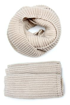 Beige, Sandy Brown, Infinity Scarf, Chunky Cowl, Knit, Mens Womens
