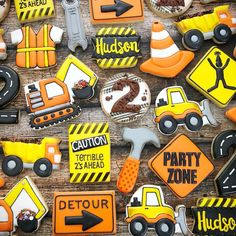2nd Birthday Party Themes, Second Birthday Ideas, Construction Birthday Parties, Construction Party, Birthday Photos, Diy Birthday, First Birthday Parties, First Birthdays, Construction Cookies