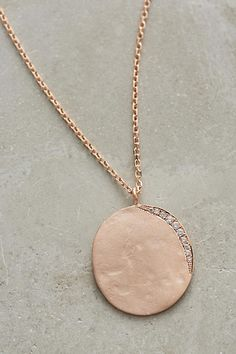 Lunar Diamond and Gold Medallion Necklace