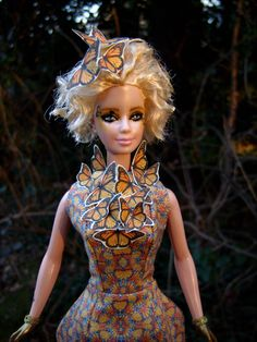 """Effie Trinket Repainted/Hair Restyled Barbie Doll in Reaping/Butterfly Dress (Alexander McQueen) Costume from """"The Hunger Games: Catching Fire"""" - by Morgan May @ Stardust Dolls - http://www.stardustdolls.com"""