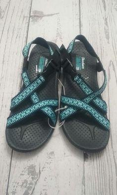 217a4f99e421 Skechers Outdoor Lifestyles Womens Sandal Size 7 Black   Blue Ankle Strap   R8  fashion