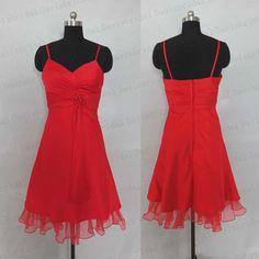 Simple red chiffon spaghetti straps V-neck short bridesmaid dress,knee length prom dress,homecoming dress,cocktail dress