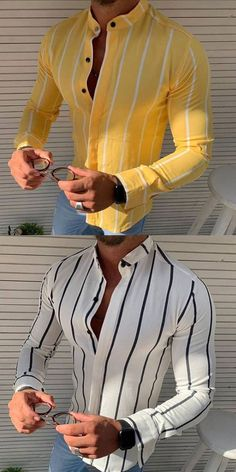 Striped printed lapel shirt, size M to Mature Mens Fashion, Mens Fashion Suits, Fashion Wear, Young Fashion, Fashion Outfits, Sport Fitness, Well Dressed Men, Mom Shirts, Mens Clothing Styles