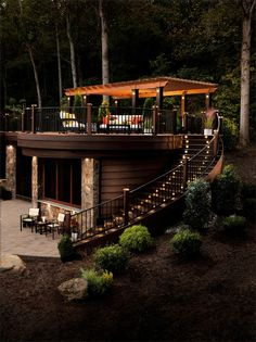 Small yard? Not to worry! You can still have an awesome patio space by building UP!   What do you think about this elevated deck space?