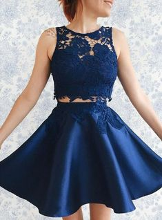 Two Piece Homecoming Dress,lace Homecoming Dress,Short Prom Dress,Blue