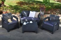 CORFU SET, grafit-világos szürke színben, asztal, 2 fotel, kanapé