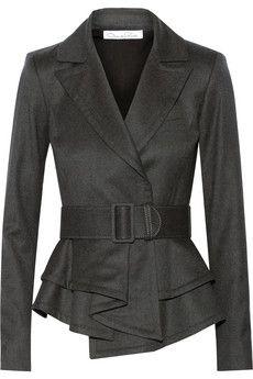 Oscar de la Renta Ruffled-hem wool-blend jacket | NET-A-PORTER