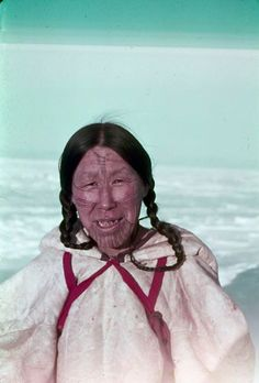 Paallirmiut woman of Arviat, Nunavut, 1950s/60s. Photo by Rt. Rev. Donald Marsh, Archives Canada. from Tattoo Traditions of Native North America