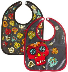 DAY OF THE DEAD MINI BIB SET Go on and let them make a mess, you've got a super sweet pair of Day of the Dead bibs to use! This bib set includes two easy to clean bibs with snap closure, nylon backing & 2 different day of the dead sugar skull designs on each. $13.00