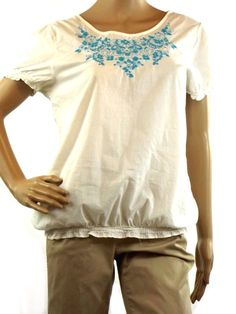 Merona White Blue Floral Embroidered Short Sleeve Peasant Top Size M Cottton #Merona #PeasantTop #Casual