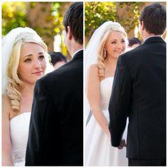 Princess wedding Bride looking at groom