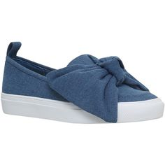 KG by Kurt Geiger Lust Bow Slip On Trainers, Blue (£67) ❤ liked on Polyvore featuring shoes, sneakers, flatform shoes, blue canvas sneakers, low heel shoes, blue shoes and canvas flat sneakers