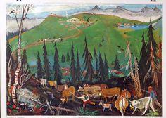 Schulwandbilder Schweiz: Alois Carigiet, 1902 - 1985, Alpauffahrt, 1937 Swiss Alps, Gd, Charts, Holiday, Painting, Inspiration, Vintage, Switzerland Destinations, Graphics