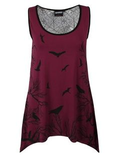 Add a touch of gothic glamour to your outfit with this stunning vest from Banned. The front sees silhouetted crows and branches on a burgundy background, whilst the back features a sheer lace panel with spider web designs intricately incorporated into it. This is a beautiful wardrobe addition which will guarantee all eyes are on you.